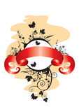 Emblem with a tape. Openwork flower emblem with butterflies and a red tape Royalty Free Stock Photography