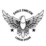 Emblem template with eagle in engraving style. Design elements for logo, label, sign, menu royalty free illustration