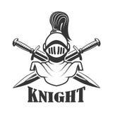 Emblem template with medieval knight helmet. Design element for logo, label, sign. Vector illustration Royalty Free Stock Images