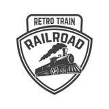 Emblem template with retro train. Rail road. Locomotive. Design element for logo, label, emblem, sign. Royalty Free Stock Image