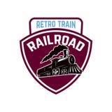 Emblem template with retro train. Rail road. Locomotive. Design element for logo, label, emblem, sign. Stock Photo