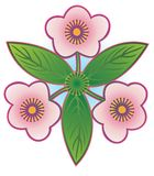Emblem of three spring flowers Stock Images
