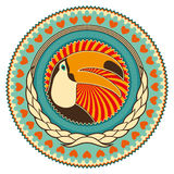 Emblem with toucan. Stock Photography