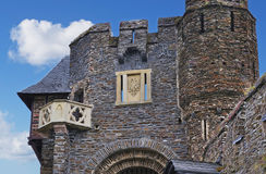 Emblem and tower. Old emblem in Cochem castle Royalty Free Stock Photography