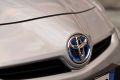 The emblem of the Toyota with hybrid royalty free stock photos