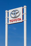 The emblem Toyota over blue sky Royalty Free Stock Photo