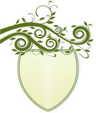 Emblem, with trailing plant. Emblem, shield with trailing plant Stock Photo