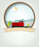 Emblem with train Royalty Free Stock Images