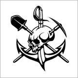 Emblem of treasure hunters, heraldic sign - treasure hunter, vector for print or design Royalty Free Stock Images