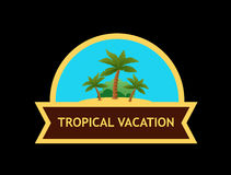 Emblem with Tropical Nature Landscape Stock Image