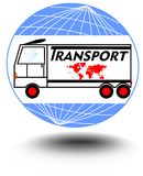 Emblem with a truck on a globe background for transport activities. For use in advertising leaflets and materials transport comp Stock Photography