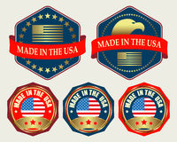 Emblem with US flag Royalty Free Stock Photography