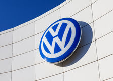 The emblem Volkswagen on blue sky background Royalty Free Stock Photo