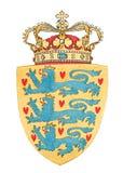 Emblem von Danemark getrennt auf Weiß Lizenzfreies Stockfoto