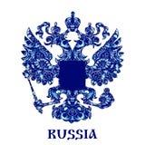 Emblem von Russland mit blauem Muster in der nationalen Art Gzhel mit Aufschrift Lizenzfreie Stockbilder