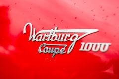 Emblem of the Wartburg 311 Coupe 1000, closeup. Royalty Free Stock Images