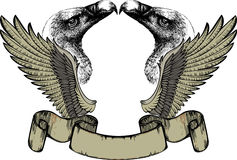 Emblem with wings and griffin, hand drawing. Royalty Free Stock Images