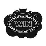 Emblem of the winner in the casino in the form of a cloud with the stars.Kasino single icon in black style vector symbol Stock Photography