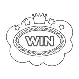 Emblem of the winner in the casino in the form of a cloud with the stars.Kasino single icon in outline style vector Stock Images