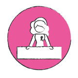 Emblem woman feminist defending image Royalty Free Stock Photos