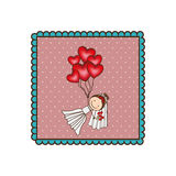 Emblem woman with wedding dress and red balloons. Illustraction Royalty Free Stock Photo