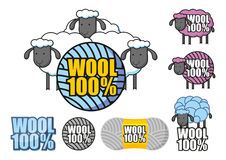 Emblem of wool sheep. Emblem depicting sheep and the words hundred percent wool Royalty Free Stock Photography