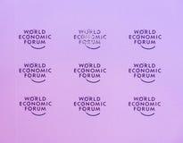 Emblem of the World Economic Forum in Davos Stock Photos
