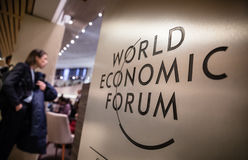 Emblem of the World Economic Forum in Davos Royalty Free Stock Photos