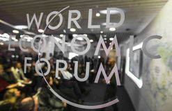 Emblem of the World Economic Forum in Davos Royalty Free Stock Photography