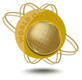 Emblem world quality with globe motif in golden design. ticker for products of high quality. Royalty Free Stock Image