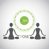 Emblem yoga lotus posture silhouette figures of people Stock Photo