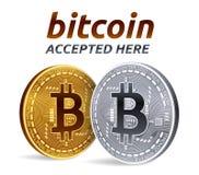 Emblema accettato del segno di Bitcoin moneta fisica isometrica del pezzo 3D con testo accettato qui Fotografia Stock