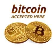 Emblema accettato del segno di Bitcoin moneta fisica isometrica del pezzo 3D con testo accettato qui Cryptocurrency Bitcoins dora Fotografie Stock