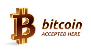 Emblema accettato del segno di Bitcoin Valuta cripto segno dorato isometrico di 3D Bitcoin con testo accettato qui Catena di bloc Fotografie Stock