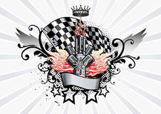 Emblema alato che corre motore e le fiamme Immagini Stock Libere da Diritti