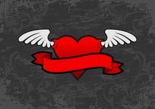 Emblema alato del cuore illustrazione vettoriale