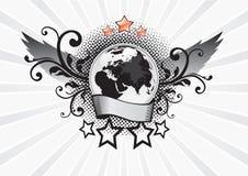 Emblema alato del pianeta Fotografia Stock Libera da Diritti