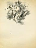 Emblema antico su vecchia priorità bassa di carta Fotografia Stock