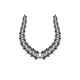 Emblema antigo floral de Laurel Wreath criado na forma em ferradura ilustração do vetor
