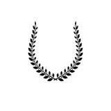 Emblema antigo floral de Laurel Wreath criado na forma em ferradura ilustração stock