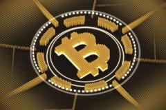 Emblema arancio del bitcoin Fotografia Stock
