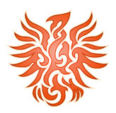 Emblema arancio della fiamma dell'aquila Fotografie Stock