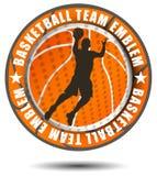 Emblema arancio della squadra di pallacanestro di colore Fotografia Stock