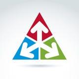 Emblema astratto di vettore con tre frecce orientabili royalty illustrazione gratis