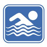 Emblema azul de la natación Fotos de archivo libres de regalías