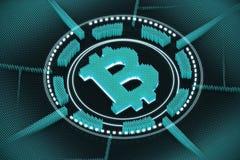 Emblema azul del bitcoin Ilustración del Vector