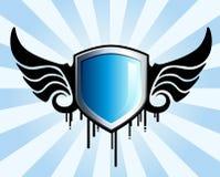 Emblema azul del blindaje Foto de archivo libre de regalías