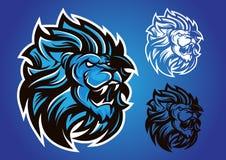 Emblema azul del vector del logotipo del león Foto de archivo libre de regalías