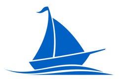 Emblema azul do navio em ondas Foto de Stock Royalty Free