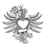 Emblema in bianco e nero con l'aquila Immagini Stock